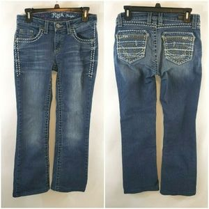 Rock 47 Wrangler Low Rise Bootcut Stitched Jeans